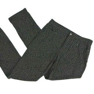NYDJ Pants Size 4 Tall Gray Leopard Print Mid Rise